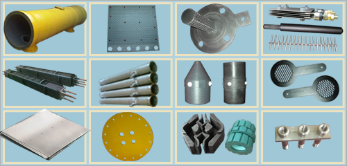 Titanium Anode, Cathode, Electrode, Housing, Earthing Electrodes, GRP pipes etc..